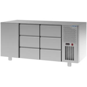 Стол холодильный, GN1/1, L1.63м, без столешницы, 1 дверь глухая, 6 ящиков, ножки, -2/+10С, нерж.сталь, дин.охл., агрегат справа