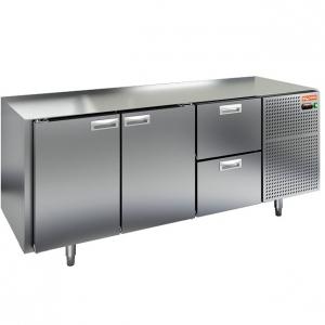 Стол холодильный, GN1/1, L1.84м, без столешницы, 2 двери глухие+2 ящика, ножки, -2/+10С, нерж.сталь, дин.охл., агрегат справа
