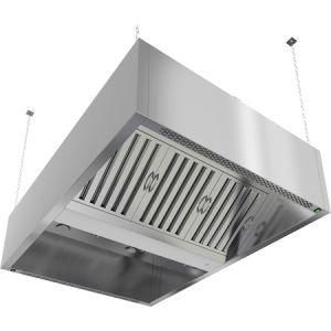 Зонт вытяжной островной, 1200х1300х400мм, лаб.фильтры, коробчатый, нерж.сталь, без подсветки, отверстие (Уценённое)