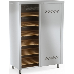 Шкаф кухонный для хлеба, 1000х600х1730мм, 2 двери-купе, без полок, нерж.сталь, разборный, замок