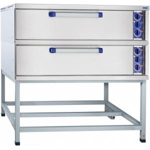 Печь для хлеба электрическая подовая, 2 камеры 1000х800х180мм, электромех.упр., под сталь, лицо нерж.сталь, стенд открытый