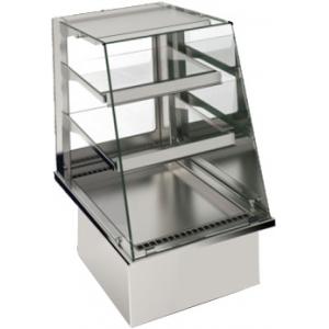 Витрина тепловая встраиваемая, для самообслуживания, L0.80м, 2 полки стекло, +30/+80С, нерж.сталь, LED подсветка, фронт открытый наклонный