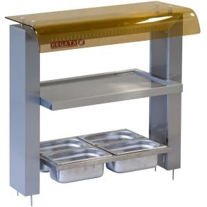Прилавок для столовых приборов, подносов и хлеба, L0.77м, встраивемый, нерж.сталь, подсветка, козырек