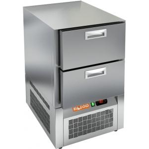 Стол морозильный, GN1/1, L0.57м, без столешницы, 2 ящика, ножки, -10/-18С, нерж.сталь, дин.охл., агрегат нижний