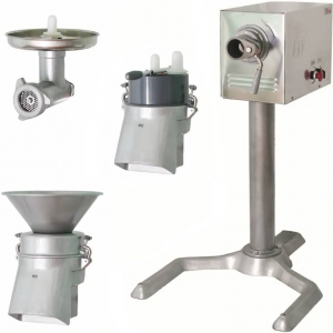 Машина универсальная кухонная напольная: насадки (мясорубка ММ+овощерезка-протирка МО), привод ПМ, подставка П-01, нерж.сталь