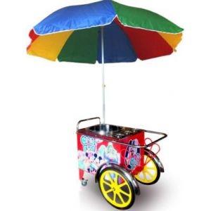 Аппарат сахарной ваты, 3кг/ч, алюм.ловитель, ТЭН, тележка, зонт (б/у (бывший в употреблении))