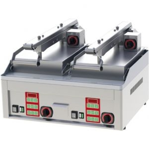 Гриль электрический контактный полуавтомат, настольный, 2 зоны 0.31м2, поверхность гладкая+гладкая хром, электромех.упр. (Новое, после выставок)