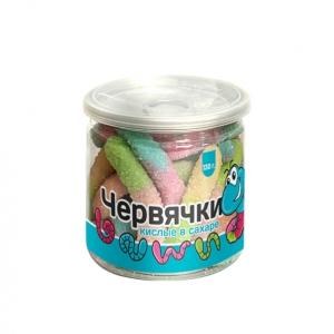 Мармелад жевательный «Червяки кислые в сахаре», банка, 130г