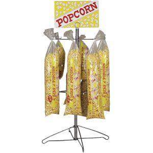 Стойка-витрина для пакетов с попкорном, 340х390х890мм, 2 яруса, 32 пакета, настольная, вывеска Popcorn