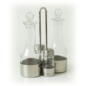 Набор для специй (4 предмета) на подставке (соль, перец, масло уксус