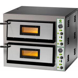 Печь для пиццы электрическая, подовая, 2 камеры  610х610х140мм, 8 пицц D300мм, электромех.управление, двери стекло, под камень