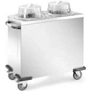 Диспенсер для тарелок нейтральный, 2 цилиндра 50-60шт. (D180-280мм), передвижной, нерж.сталь, 2 крышки