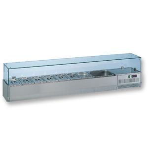Витрина холодильная настольная, горизонтальная, для топпингов, L2.07м, 9GN1/3, +4/+8С, стат.охл., нерж.сталь, верхняя структура стекло