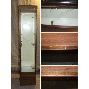 Шкаф нейтральный, подсветка, 4 полки, темный орех (Уценённое)