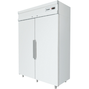 Шкаф холодильный, 1000л, 2 двери глухие, 8 полок, ножки, 0/+6С, дин.охл., белый
