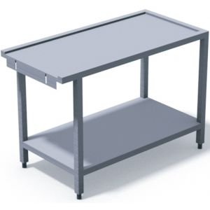 Стол выходной для машин посудомоечных HT и RX, VX, L1.20м, 3 борта, 1 полка сплошная, 4 ножки, нерж.сталь