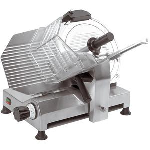 Слайсер электрический наклонный, D ножа 300мм, корпус алюминий, устройство заточное фиксированное, каретка фиксированная