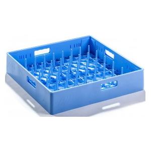 Корзина посудомоечная для тарелок, 500х500мм, пластик синий, вместимость 18шт.