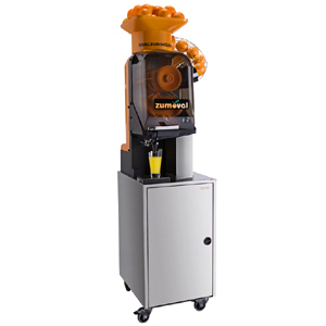Соковыжималка для цитрусовых, электрическая, напольная, автоматическая, 15шт./мин, электронное управление, бункер, оранжевая, кран нерж.сталь, стенд