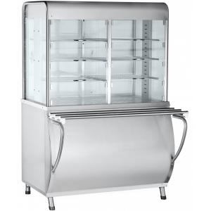 Прилавок-витрина тепловой, L1.12м, столешница подогреваемая +120С, стенд закрытый, нерж.сталь, направляющие