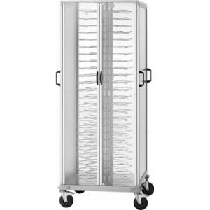 Тележка банкетная для тарелок D180-230мм,  96 шт., закрытая, основание алюминий анодир., держатели хромированные, 4 дверцы оргстекло