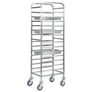 Шпилька для GN1/1, 14 уровней, одинарная, открытая, нерж.сталь, колеса, направляющие по длинной стороне, гнутая
