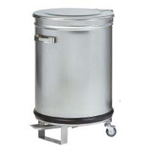 Бак для пищевых отходов передвижной,  390х390х600мм, 50л, нерж.сталь, крышка, педаль, ручки