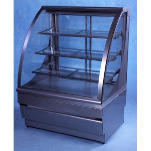 Витрина холодильная напольная, горизонтальная, кондитерская, L1.25м, 3 полки, 0/+8С, дин.охл., металлик-хром (сер.), стекло фронтальное гнутое, колёса