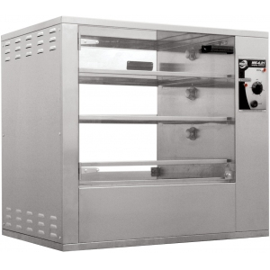 Витрина тепловая напольная, горизонтальная, для кур, L0.88м, 3 полки, нерж.сталь, сквозная, электромех.управление