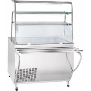 Прилавок холодильный, L1.12м, ванна охлаждаемая +1/+10С, стенд полузакрытый без двери, нерж.сталь, 3 полки стекло, направляющие