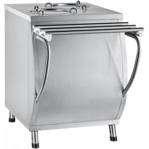 Диспенсер для тарелок подогреваемый, L0.63м, 2 цилиндра 40шт. (D240мм), стенд закрытый, нерж.сталь