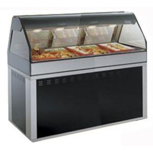 Витрина тепловая напольная, горизонтальная, для самообслуживания, L1.83м, черная, стекло фронтальное гнутое, база-основание прямоугольная