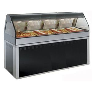 Витрина тепловая напольная, горизонтальная, для самообслуживания, L2.44м, черная, стекло фронтальное гнутое, база-основание прямоугольная, доступ спр.