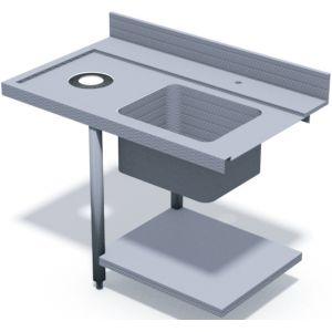 Стол входной для машин посудомоечных HT, L1.20м, 1 борт, 1 полка сплошная, 2 ножки, мойка 500х400х270мм, левый, отверстие для отходов