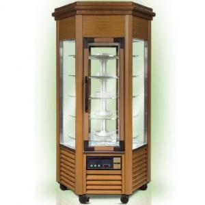 Витрина морозильная напольная, вертикальная, L1.11м, 5 полок, -5/-20С, дин.охл., светлый орех, 6-ти стороннее остекление