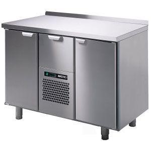 Стол холодильный, GN1/1, L1.26м, борт H40мм, 2 двери глухие+1 выд.секц., ножки, +2/+15С, нерж.сталь, дин.охл., агрегат центр.