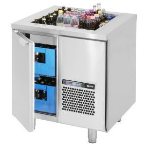 Стол холодильный для напитков, L0.86м, без борта, 1 дверь глухая, ножки, +2/+15С, нерж.сталь, дин.охл., агрегат справа, ванна охл.