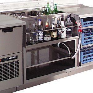 Модуль барный нейтральный,  800х550х900мм, без борта, полузакрытый без двери, ножки, нерж.сталь, держатель бутылок, ванна для льда