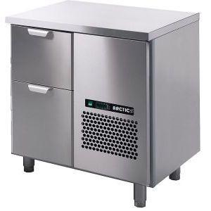 Стол холодильный для напитков, L0.86м, без борта, 2 выд.секц., ножки, +2/+15С, нерж.сталь, дин.охл., агрегат справа