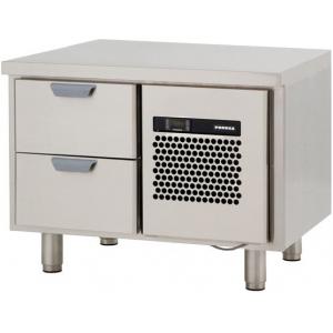 Стол холодильный низкий, GN1/1, L0.86м, без борта, 2 выд.секц., ножки, +2/+15С, нерж.сталь, дин.охл., агрегат справа