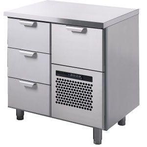 Стол холодильный, GN1/1, L0.86м, без борта, 4 выд.секц., ножки, +2/+15С, нерж.сталь, дин.охл., агрегат справа