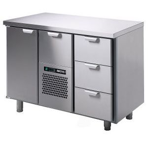 Стол холодильный, GN1/1, L1.26м, без борта, 1 дверь глухая+4 выд.секц., ножки, +2/15С, нерж.сталь, дин.охл., агрегат центр.