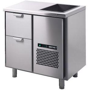 Модуль барный холодильный,  860х650х850мм, без борта, 2 выд.секц., ножки, +2/+15С, нерж.сталь, дин.охл., агрегат справа, ванна охл.GN1/1