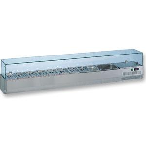 Витрина холодильная настольная, горизонтальная, для топпингов, L2.40м, 11GN1/3, +4/+8С, стат.охл., нерж.сталь, верхняя структура стекло