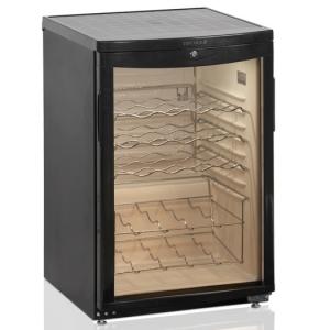 Шкаф холодильный д/вина,  22 бут. (92л), 1 дверь стекло, 4 полки, ножки, +2/+10С, стат.охл., чёрный