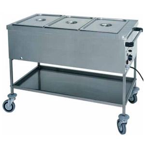 Мармит электрический, 1 ванна 3GN1/1, стенд открытый, 1 полка сплошная, нерж.сталь, передвижной, нагрев «парового» типа