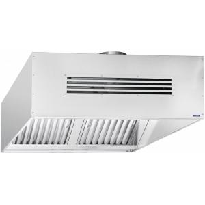 Зонт приточно-вытяжной островной, 1250х1100х450мм, лаб.фильтры, коробчатый, нерж.сталь, подсветка, отверстие, 1 вентилятор