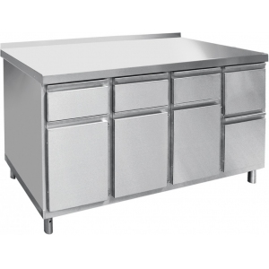 Модуль барный нейтральный для кофемашин, 1400х700х860мм, борт, 4 шкафа, 4 ящика, ножки, нерж.сталь