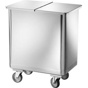 Бак для пищевых отходов передвижной,  610х400х730мм, нерж.сталь, крышка съемная