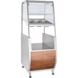 Прилавок для столовых приборов, подносов и хлеба, L0.63м, кашир.металл «дуб», подсветка